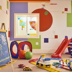 Simple Geometry - The lack of furniture and other decor makes a playroom the perfect place to go crazy with paint. Try a geometric pattern like the one show here, or let your imagination dictate your design!