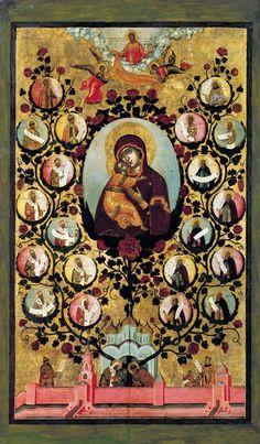 Praise to Icons of Virgin Mary of Vladimir. The tree of Russian State 1668 - Simon (Pimen) Fyodorovich Ushakov (Russian: Симон (Пимен) Федорович Ушаков) (1626 – 25 June 1686) was a leading Russian icon painter of the late 17th-century. Together with Fyodor Zubov and Fyodor Rozhnov, he is associated with the comprehensive reform of the Russian Orthodox Church undertaken by Patriarch Nikon.