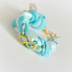 Mint braided bracelet handmade turquoise
