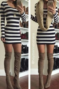 Faux Suede Thigh-High Boots - Taupe from Colors of Aurora. Shop more products from Colors of Aurora on Wanelo. Mode Outfits, Casual Outfits, Fashion Outfits, Casual Shoes, Fashion Moda, Look Fashion, Street Fashion, Fall Fashion, Fall Winter Outfits