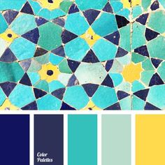 Bright contrasting palette that combines positive shades: turquoise, blue, blueberry, violet and lemon. In the interior design suits small bathroom, living room or children's room, because bright colors visually expand the space. In the clothes this palette is beautiful in bright summer dress or flashy accessories.