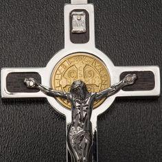 Colgante Cruz de San Benito acero, plata 925, oro 18K | venta online en HOLYART