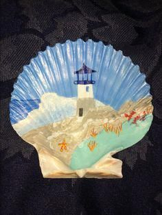 Shells Painting, Lighthouse by the Sea~~………🐡 Seashell Painting, Seashell Art, Seashell Crafts, Oyster Shell Crafts, Seashell Projects, Shell Decorations, Seashell Ornaments, Painted Shells, Scallop Shells