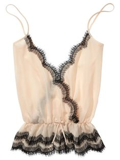 Chemise, blush with black lace trim & spaghetti straps... IDEA: so feminine & lovely with black lace boxers or panties; or for real lounging: black lace bralette & panties with satin pj bottoms!