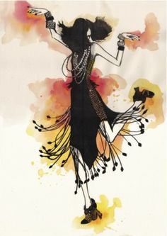 CoCo1jpg from Fashion Illustration Blog post, love the use of black over the watercolor drops!