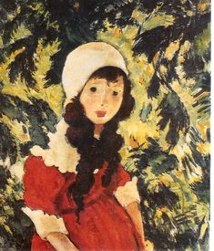 The Forester's Daughter (1924) by Nicolae Tonitza (1886-1940), Romanian painter-while inspired by Post-Impressionism and Expressionism, he stopped short of full Expressionism, and did not stray from nature or placing emphasis on feeling. He was committed to social commentary and Socialism (wiki - (harmoniesoflight)