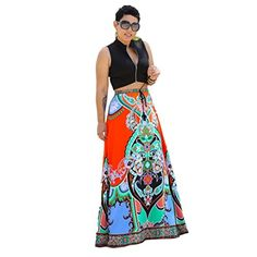 Fullkang Women Summer Casual Traditional African Print Beach Skirt -- To view further for this item, visit the image link.