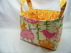PK Fabric Basket in Menagerie Gumdrop and Natural  by PKStuff, $14.50