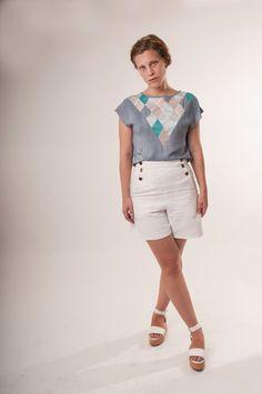 Blue shirt sale  pastel top diamond pattern by OAOAstudio on Etsy
