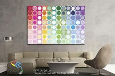 Room Inspiration. Circles and Squares 55. Rainbow Joy. Modern Abstract Fine Art…
