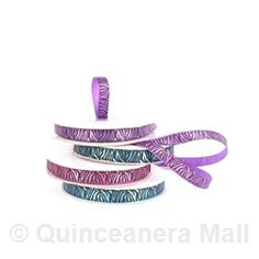 "Quinceanera Mall - 5/8"" Zebra Print Satin Ribbon Roll - 25 Yds #RIB42"