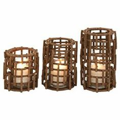 """Crafted of rattan for natural appeal, this 3-piece candleholder set showcases an openwork design.       Product: Small, medium and large candleholder  Construction Material: Natural woven rattan and glass  Color: BrownAccommodates: (1) Candle each - not included    Dimensions: Small: 7"""" H x 7"""" Diameter Medium: 9"""" H x 7"""" Diameter Large: 11"""" H x 7"""" Diameter Cleaning and Care: Wipe with dry cloth"""