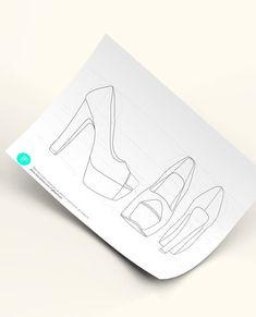 Diseñar zapatos nunca ha sido tan sencillo, descarga esta plantilla para diseñar tacones de plataforma, imprímela y a diseñar. Clic aquí