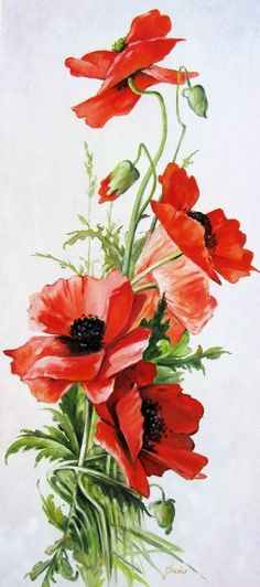 Фотография Source by Flower Images, Flower Art, Watercolor Flowers, Watercolor Paintings, Poppies Painting, Abstract Painting Techniques, Arte Floral, Red Poppies, Vintage Flowers