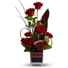 """Romantic Roses Roses, the traditional flower of love, receive a modern twist in this imaginative bouquet, stylishly presented in a black contemporary glass cube vase. An excitingly different way to say, """"I love you. Valentine's Day Flower Arrangements, Rosen Arrangements, Contemporary Flower Arrangements, Ikebana, Amazing Flowers, Fresh Flowers, Beautiful Flowers, Unique Flowers, Beautiful Gorgeous"""
