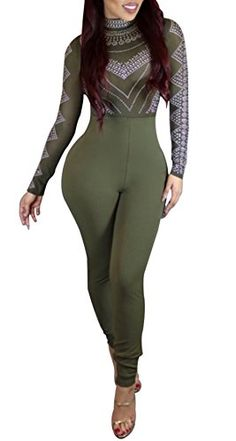 Speedle Women Sexy Hight Waist Bodycon Club Jumpsuit Rompers Playsuit Green S >>> More info could be found at the image url.