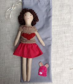 Dress up doll in bag Handmade cloth doll doll set by Dollisimo