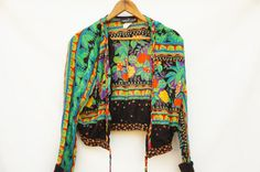 Vintage 90s Carole Little Cropped Blouse Jacket by SycamoreVintage
