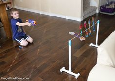 How to Make a Nerf Spinning Target - Frugal Fun For Boys and Girls Fun Projects For Kids, Indoor Activities For Kids, Diy For Kids, Crafts For Kids, Stem Activities, Fun Games, Games For Kids, Nerf Cake, Christmas Party Games For Adults