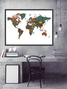 African Wall Decor African World Map African Fabric by DaniJArts
