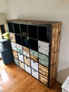 Kallax hack with Shou Sugi Ban style pine doors, drawers & cladding Ikea Kallax Shelving, Kallax Hack, Pine Doors, 1950s House, She Sheds, Pallet Furniture, Furniture Ideas, Retro Chic, Cladding