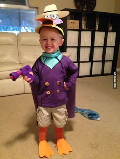Little boy's custom-made Darkwing Duck costume. Sadly, the other kids will have no idea who he is...