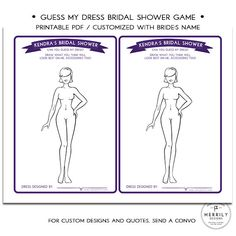 Guess My Dress Bridal Shower Game  Personalized by MERRILYDESIGNS