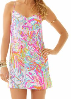 Lilly Pulitzer Dusk Strappy Silk Slip Dress in Scuba to Cuba