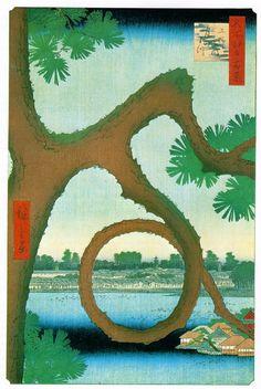 Hiroshige. Moon, Pine