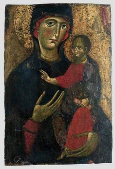 Master of St Agatha Icon: The Blessed Virgin and Child Italy, century Madonna, Religious Icons, Religious Art, Russian Icons, Image Painting, Byzantine Art, Art Thou, Orthodox Icons, Medieval Art