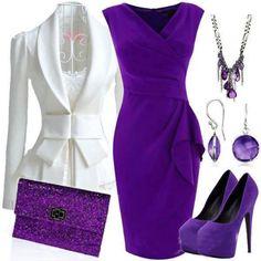 Classy purple wrap dress & Let's talk about this AMAZING WHITE BLAZER....#speechless #sogorgeous #ILive