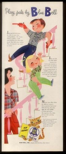 1953 Cute Mary Blair Cat Kids Mom Art Blue Bell Jeans Kids Clothes Print  Ad