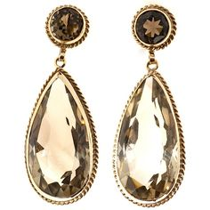Pear and Round Smoky Quartz Gold Dangle Earrings | From a unique collection of vintage Dangle Earrings at https://www.1stdibs.com/jewelry/earrings/dangle-earrings/.