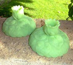 lime green fenton glass | Vintage Lime Green Jadeite Candlesticks / Retro / Fenton Art Glass