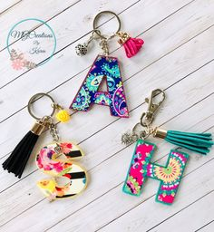 Excited to share this item from my shop: Letter Keychain, Initial Keychain, Initial Key Ring, Letter Key Ring, Custom Keychain Diy Keychain, Keychain Ideas, How To Make Keychains, Tassel Keychain, Extra Fine Glitter, Acrylic Keychains, Shrinky Dinks, Diy Crafts For Kids, Initials