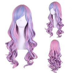 Perruque bleu fringe siren vert ondulé long rose rouge violet