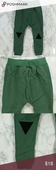 Green sweatpants. Kids :) Adorable green sweatpants with cute knee patches.  Pull up style.  This item is brand new and never used    387 Bottoms Sweatpants & Joggers