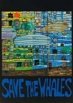 Hundertwasser painting: Save the whales  (iLivid)