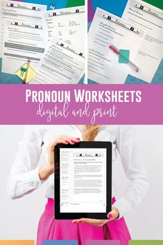 Add these grammar worksheets to your pronoun unit. These are in print and digital versions! Clarify students' understanding of types of pronouns. Teaching Grammar, Teaching Language Arts, Grammar Lessons, Grammar Worksheets, Pronoun Activities, Middle School Grammar, Mentor Sentences, Secondary Teacher, English Classroom