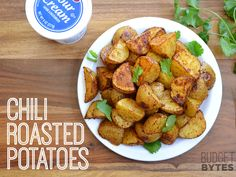 "Chili roasted potatoes -- from Budget Bytes. Could make ""nachos"" out of it or serve alongside eggs for a meatless meal."