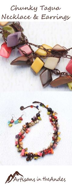 This vibrant crochet necklace features four strands of tagua beads. A symphony of color, this Fair Trade necklace is inspired by the hues of nature and includes sienna orange, creamy beige, lush greens, ruby reds, and more colors than can be described. #fairtrade #fairtradefashion #fairtradejewelry #fairtradegifts