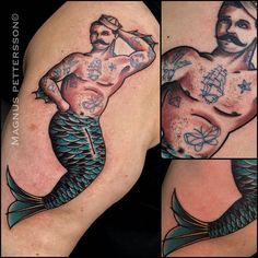 Tattooed Merman by @tattoomagnus at Evil Eye Tattoo in Stockholm Sweden…