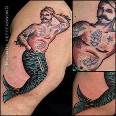 Tattooed Merman by @tattoomagnus at Evil Eye Tattoo in Stockholm Sweden…