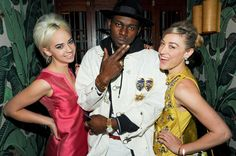 #nylonfw spotted: Caitlin Moe, Theophilus London, and Mia Moretti at the DVF dinner.