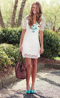 Choose white lace shift dress for a seriously stylish look. Mint leather pumps are a good choice to complete the look.   Shop this look on Lookastic: https://lookastic.com/women/looks/white-shift-dress-mint-pumps-dark-brown-tote-bag-mint-necklace/11558   — Mint Necklace  — White Lace Shift Dress  — Dark Brown Leather Tote Bag  — Mint Leather Pumps