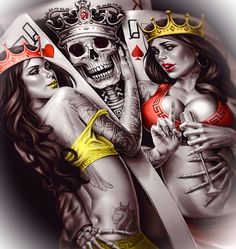 King and Queens wallpaper by _Gothic_Angel - ac - Free on ZEDGE™ Pirate Skull Tattoos, Skull Rose Tattoos, Body Art Tattoos, Queens Wallpaper, Skull Wallpaper, Sketch Tattoo Design, Tattoo Designs, Og Abel Art, Chicano Tattoos Sleeve