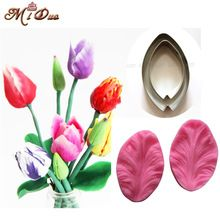 2Pcs Tulips Veiner Fondant flower petal Cake decorating tools Fondant cake decoration Cookie cutter cupcake mold(China)