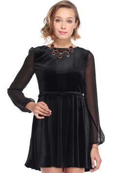 ROMWE   Dual-tone Black Velvet Dress, The Latest Street Fashion love the idea, but closed in the back, maybe with some buttons :)