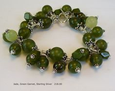 Jade, Green Garnet and Sterling Silver Bracelet One of a Kind and Handmade by A. Denise Rollings-Martin  www.lilygirlart.com or www.etsy.com/listing/152254568/jade-green-garnet-and-sterling-silver   $218.00