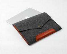"Felt Macbook Case Sleeve Cover  Bag Custom Made Hand Genuine Leather Sleeve for 11"" 13"" 15"" 17"" Macbook Air New / Old Macbook Pro E1137-MGra..."